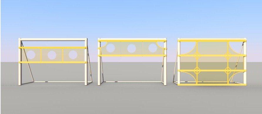 Modelos de redes para tiro ao gol: Faixa 70cm, Faixa 70cm com ângulos e Faixa Full com ângulos