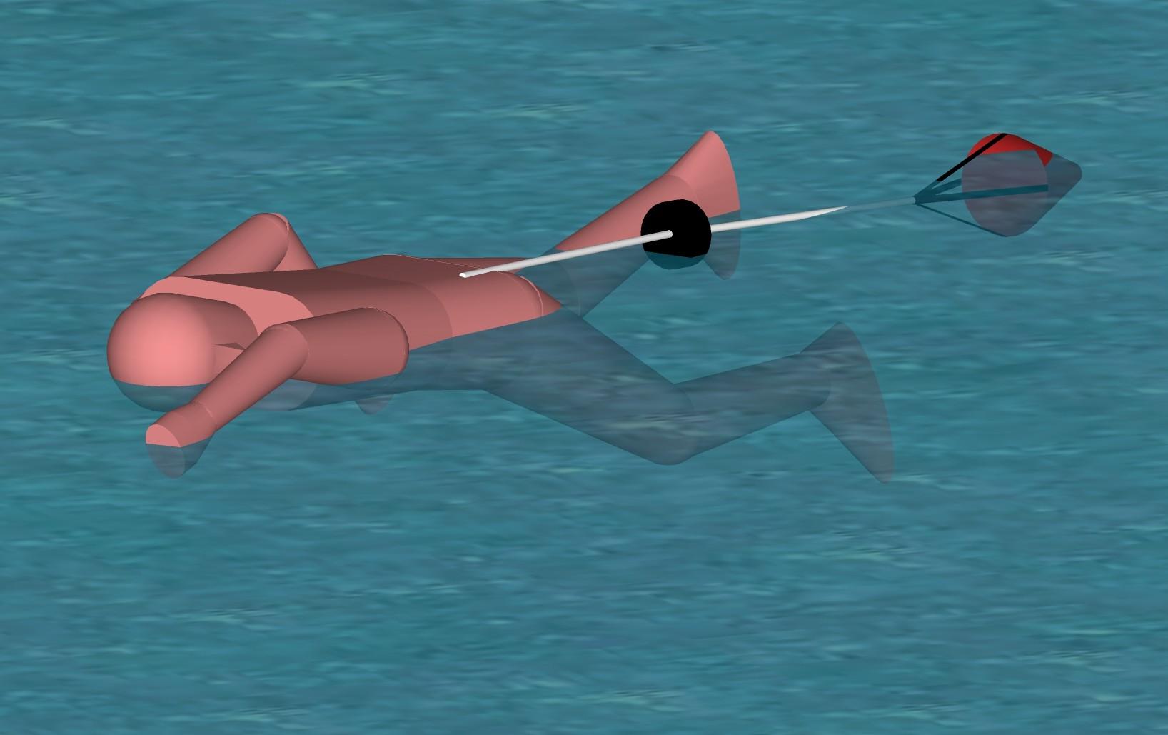 nadador em piscina com paraquedas de natação