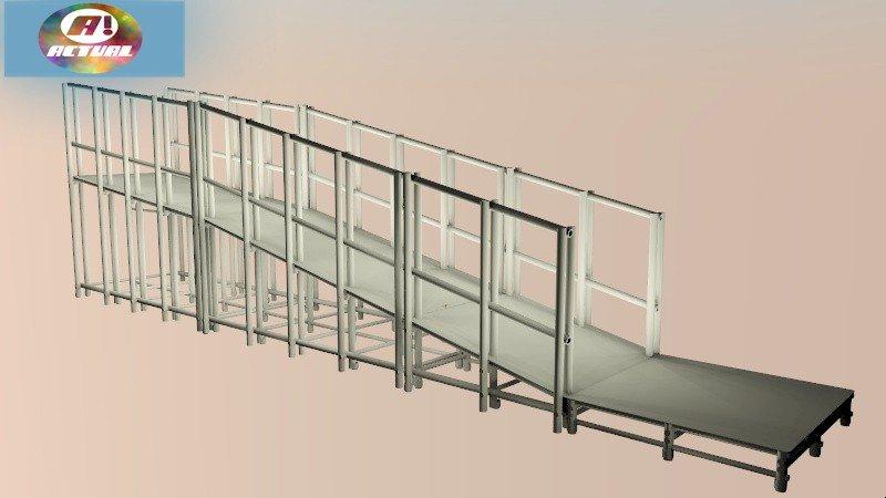 Rampa para Piscina Actual® em três módulos inclinados e um módulo plano para embarque e desembarque.
