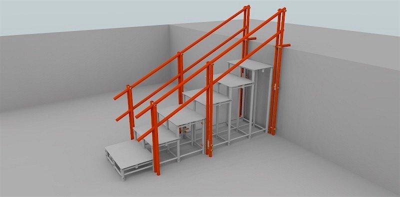 escada de 6 degraus com 2 corrimãos