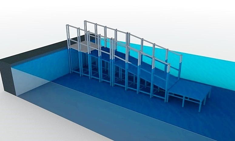 rampa Actual para transporte de cadeirante na piscina