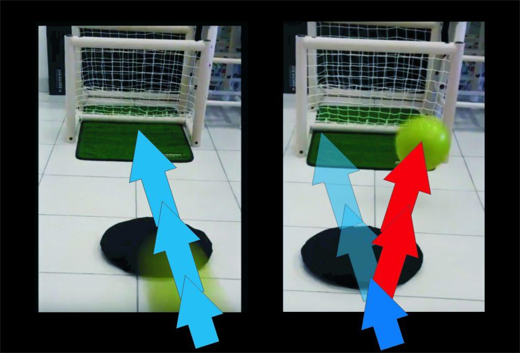 trajetória da bola desviada devido ao morrinho