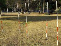 estaca de treinamento em campo gramado terra ou areia
