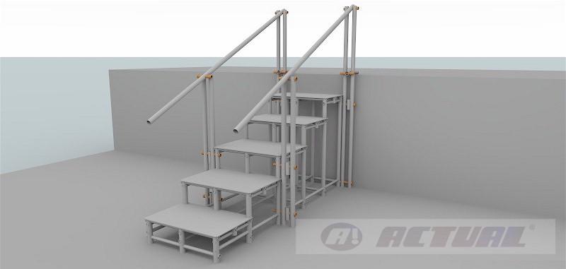 escada 5 degraus com 2 corrimaos simples - escada comum