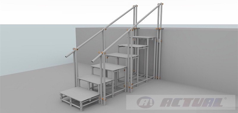 escada 6 degraus com 2 corrimãos com estrutura reforçada
