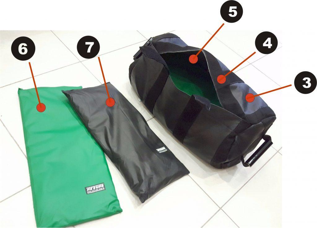 Sandbag Actual - Esquema de montagem das bolsas