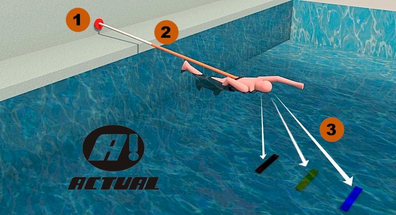 esquema de uso do cinto de natação com as faixas de demarcação