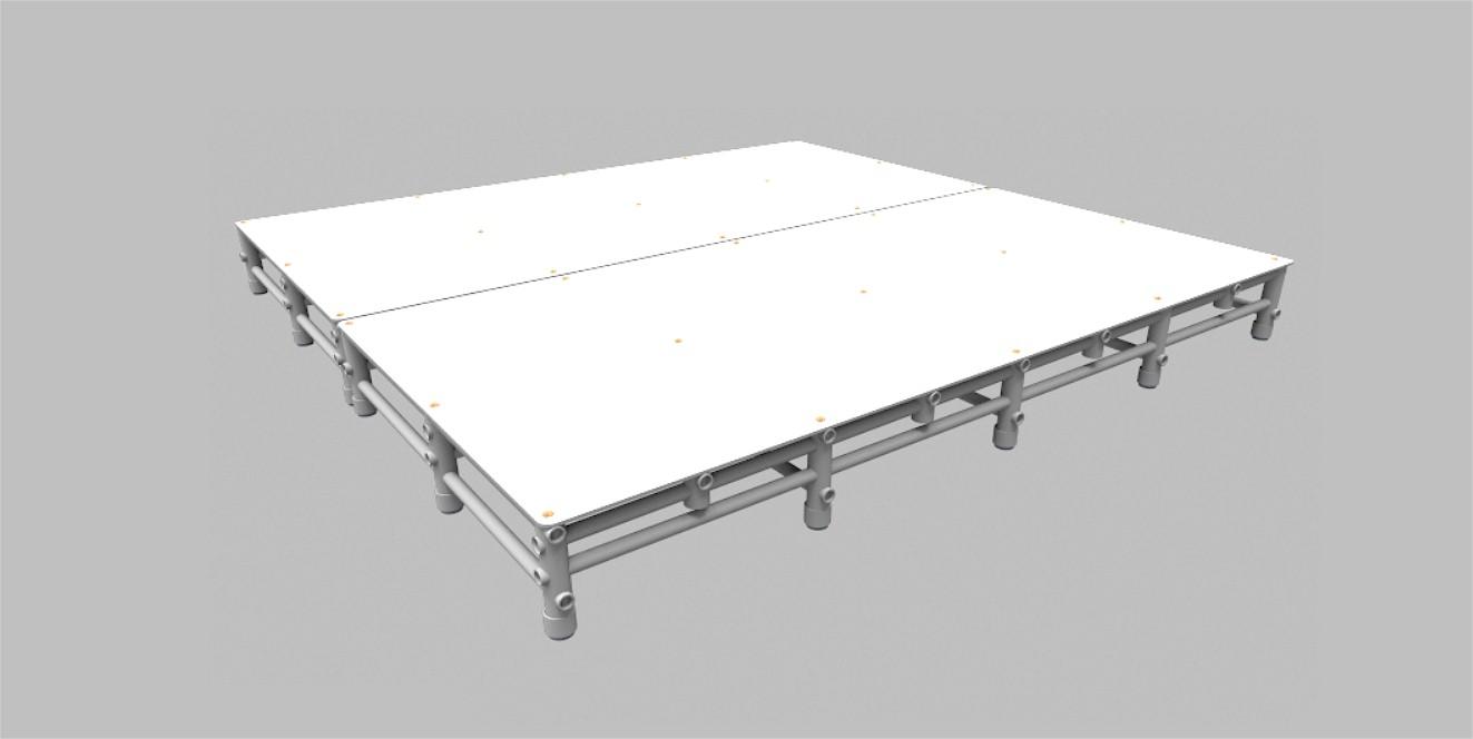 plataforma para piscina Actual 2x2m 20cm altura montada com dois modulos 2x1