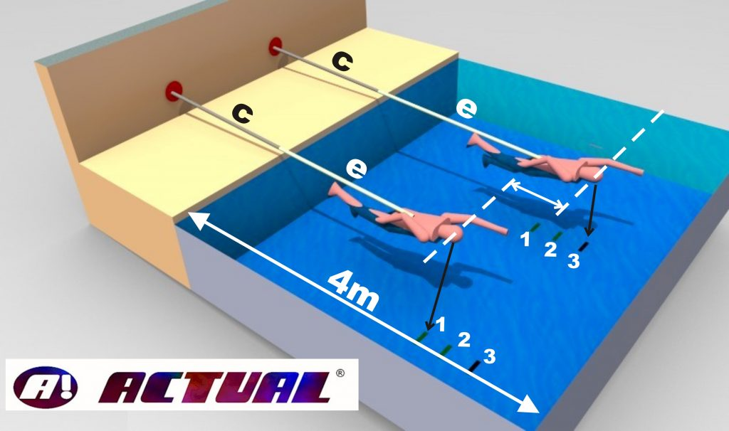cinto de natação Actual modelo PU diagrama de uso em piscina pequena